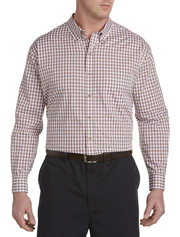 Harbor Bay® Easy-Care Medium Plaid Sport Shirt (orange)