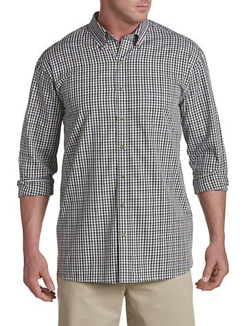 Harbor Bay® Easy-Care Small Plaid Sport Shirt (black)