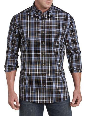 Harbor Bay® Easy-Care Large Plaid Sport Shirt (black)