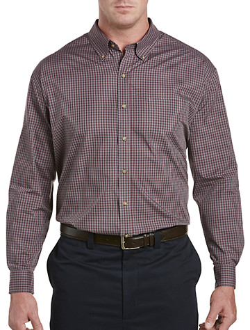 Harbor Bay® Easy-Care Small Plaid Sport Shirt (red)