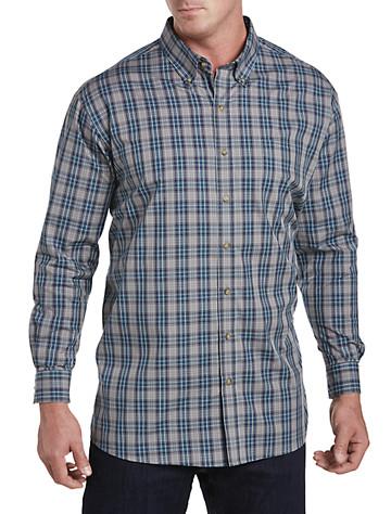 Harbor Bay® Easy-Care Large Plaid Sport Shirt (blue)