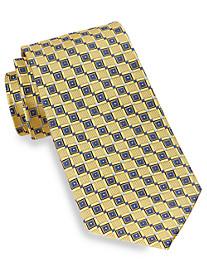 Gold Series Diamond Geometric-Pattern Neat Silk Tie