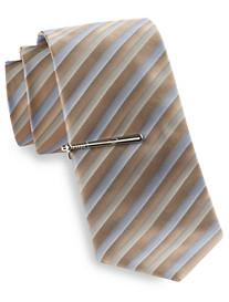 Gold Series Stripe Baseball Tie with Tie Bar