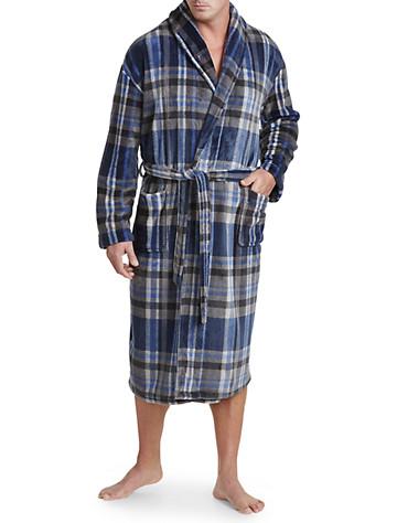 Harbor Bay® Plaid Fleece Robe (blue)