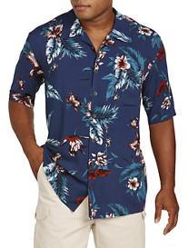 Island Passport® Floral and Leaf-Print Sport Shirt