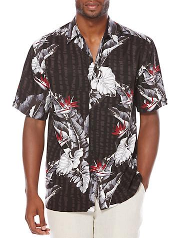 Cubavera® Floral-Print Sport Shirt - Available in jet black