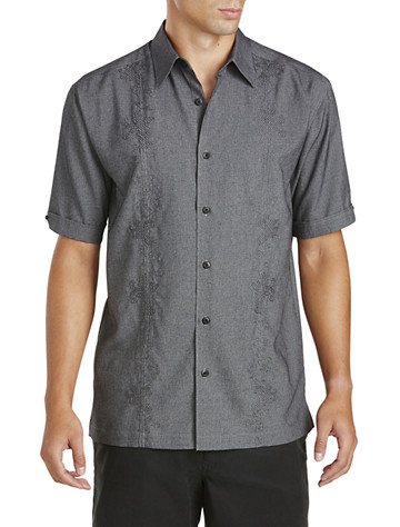 Cubavera® Tonal Embroidered Sport Shirt - Available in jet black