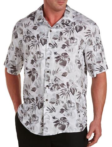 Island Passport® Tonal Leaf-Print Camp Shirt