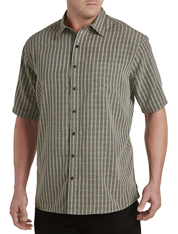 Harbor Bay® Small Plaid Microfiber Sport Shirt (khaki)