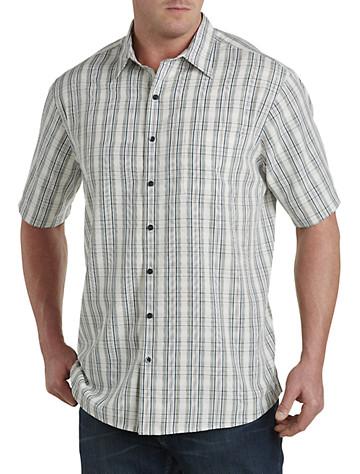 Harbor Bay® Medium Plaid Microfiber Sport Shirt (khaki)