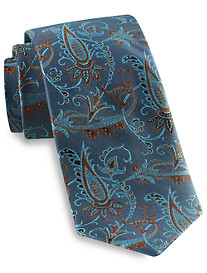 Gold Series Designed in Italy Large Paisley Silk Tie