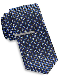 Gold Series Diamond Geometric Tie with Tie Bar