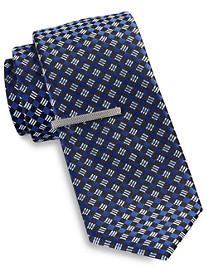Gold Series Diamond Geometric Tie with Tie Bar