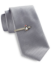 Gold Series Tree Diamond Solid Tie with Holiday Tie Bar