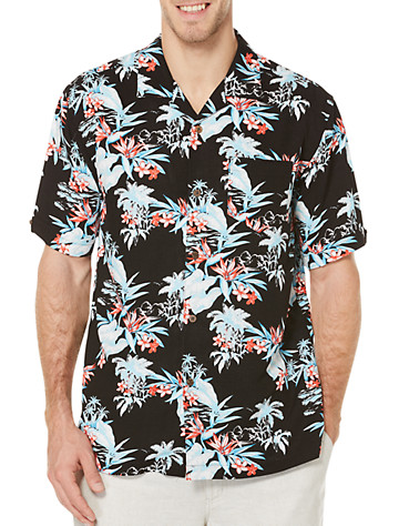 Cubavera® Tropical Floral Sport Shirt - Available in jet black