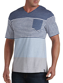 PX Clothing Engineered Stripe V-Neck Tee