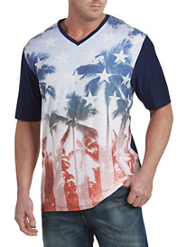 PX Clothing Printed Slub-Knit V-Neck Tee