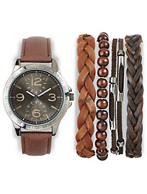True Nation® Brown Watch With Multiple Bracelets Set