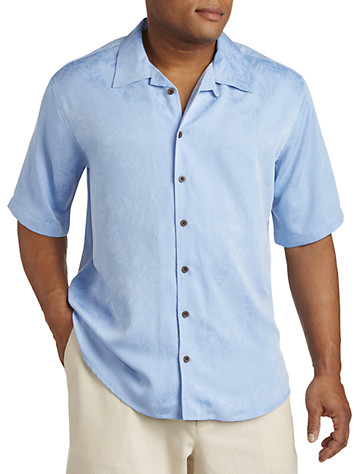 Island Passport® Tonal Blue Leaf Camp Shirt