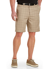 Oak Hill® Plaid Microfiber Waist-Relaxer Shorts