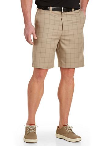 Oak Hill® Plaid Microfiber Waist-Relaxer Shorts - Available in khaki
