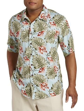 Island Passport® Leaf Print Camp Shirt
