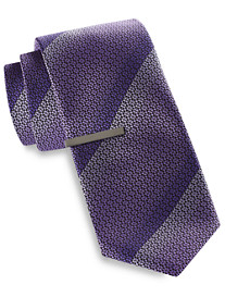Gold Series Ombré Patterned Stripe Tie with Tie Bar
