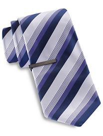 Gold Series Tonal Matte Stripe Tie with Tie Bar