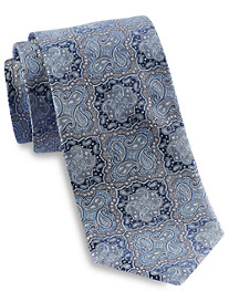 Gold Series Designed in Italy Repeating Medallion Paisley Silk Tie
