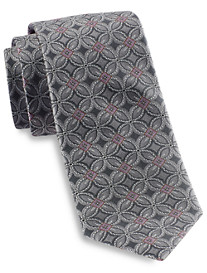 Gold Series Designed in Italy Large Floral Medallion Silk Tie