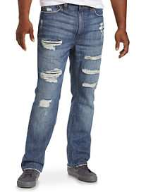 True Nation® Deakin Distressed Athletic-Fit Jeans