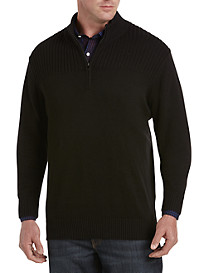 Synrgy™ Ribbed-Knit Shoulder 1/4-Zip Pullover