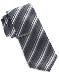Gold Series Stripe Tie with Tie Bar
