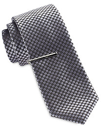 Gold Series Small Circle Neat Tie with Tie Bar