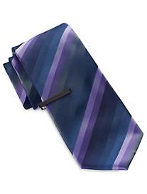 Gold Series Tonal Multi-Stripe Tie with Tie Bar