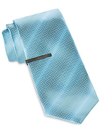 Gold Series Herringbone Ombré Solid Tie with Tie Bar