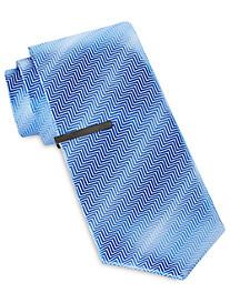 Gold Series Herringbone Ombré Solid Tie with Tie Bar