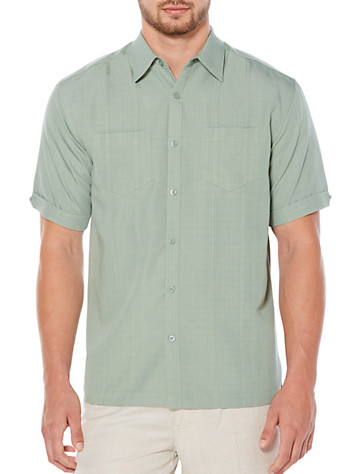Cubavera® Lily Pad Double-Pocket Panel Sport Shirt - Available in lilypad green