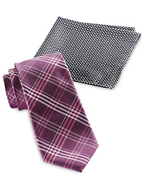 Synrgy™ Plaid Tie and Pocket Square Combo