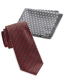 Synrgy™ Circle Geometric-Patterned Tie and Pocket Square Combo
