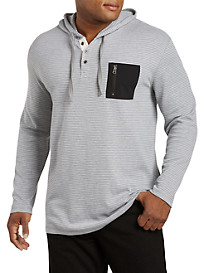 PX Clothing Textured Henley Hoodie