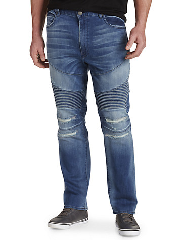 MVP Collections 5-Pocket Stretch Moto Jeans - Available in light wash distressed