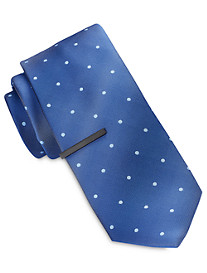 Gold Series Tonal Small Dot Tie With Tie Bar