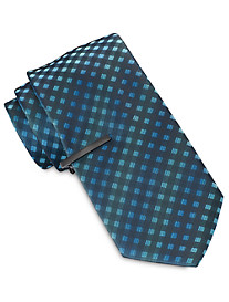 Gold Series Tonal Gingham Plaid Tie With Tie Bar