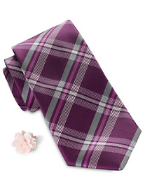 Synrgy Tonal Plaid Tie and Lapel Pin