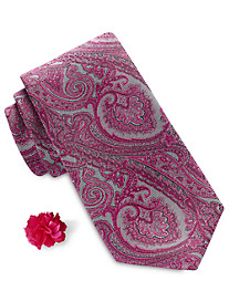 Synrgy™ Tonal Paisley Tie and Lapel Pin