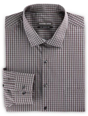 Geoffrey Beene® Medium Check Dress Shirt (burgundy) ( Mix & Match Geoffrey Beene, Gold Series & Synrgy Dress Shirts )