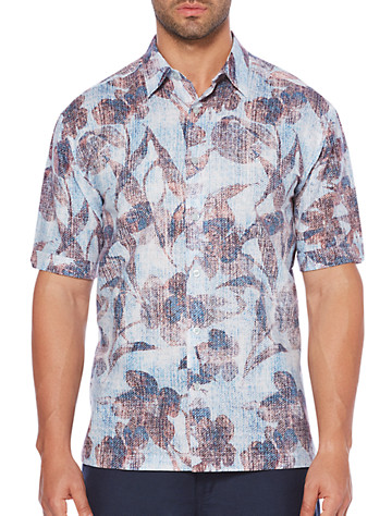 Cubavera® Leaf Print Sport Shirt - Available in malibu blue