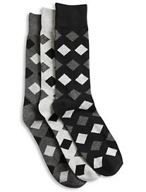Harbor Bay® 3-pk Opaque Diamond-Pattern Crew Socks