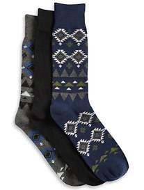 Harbor Bay® 3-pk Tribal-Pattern Crew Socks